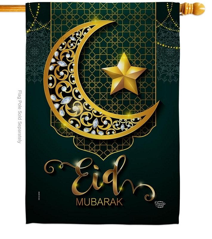 Bright Eid Mubarak House Flag