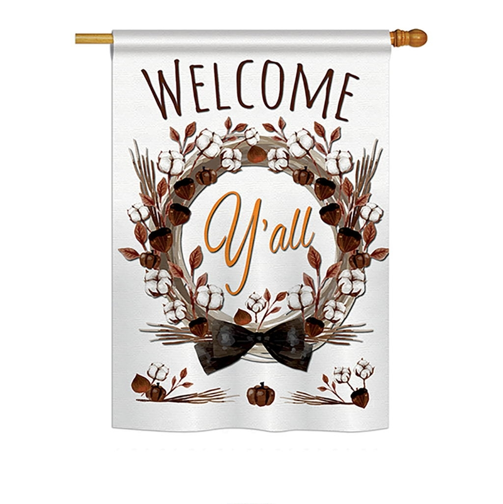 Welcome Y'll Cotton Reef House Flag