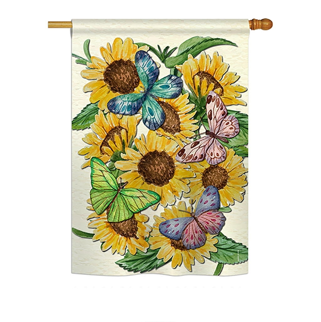 Butterflies On Sunflower House Flag