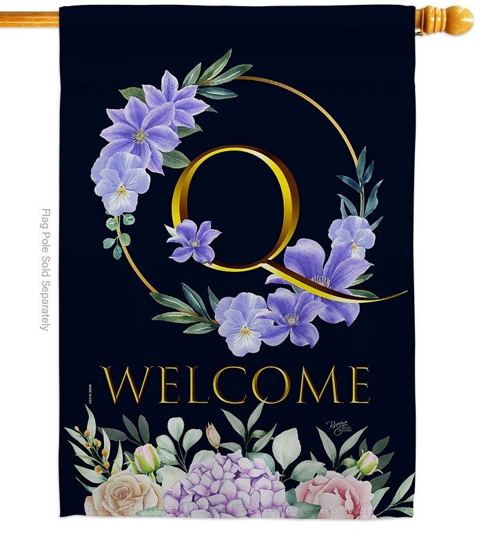Welcome Q Monogram House Flag