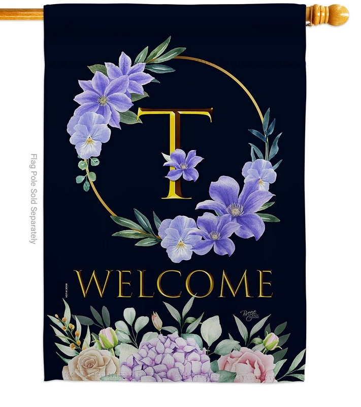 Welcome T Monogram House Flag
