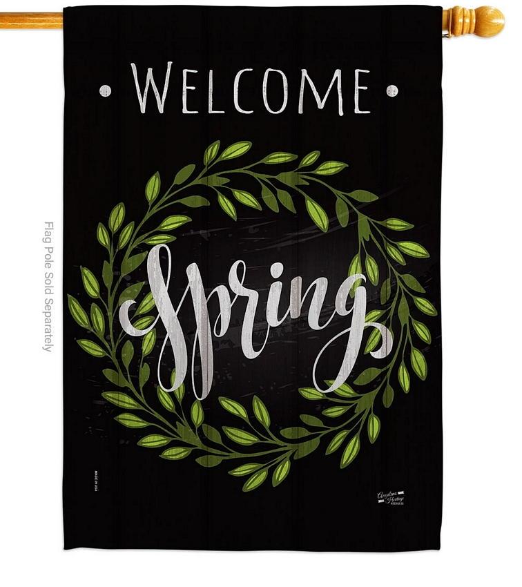 Spring Wreath House Flag