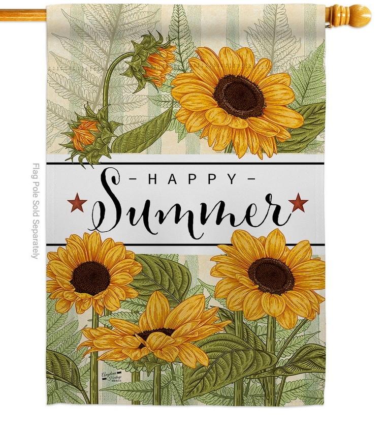 Happy Sunflowers House Flag