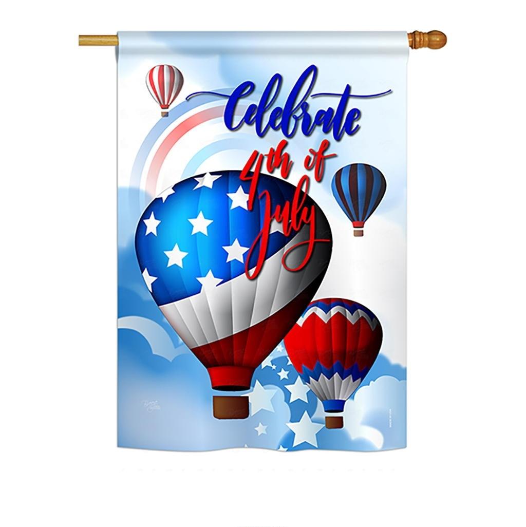 July 4th Hot Air Balloon House Flag