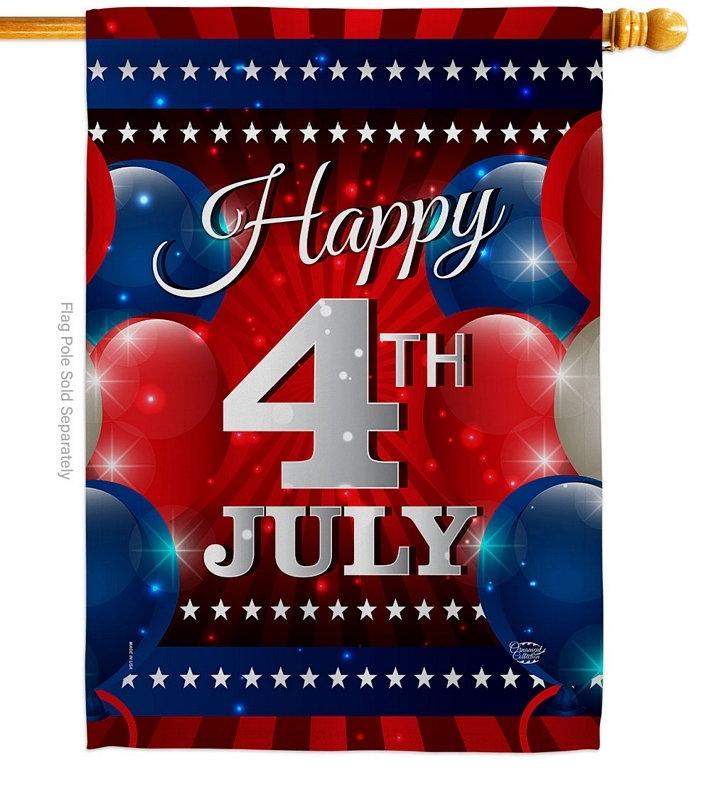4th July Balloon House Flag