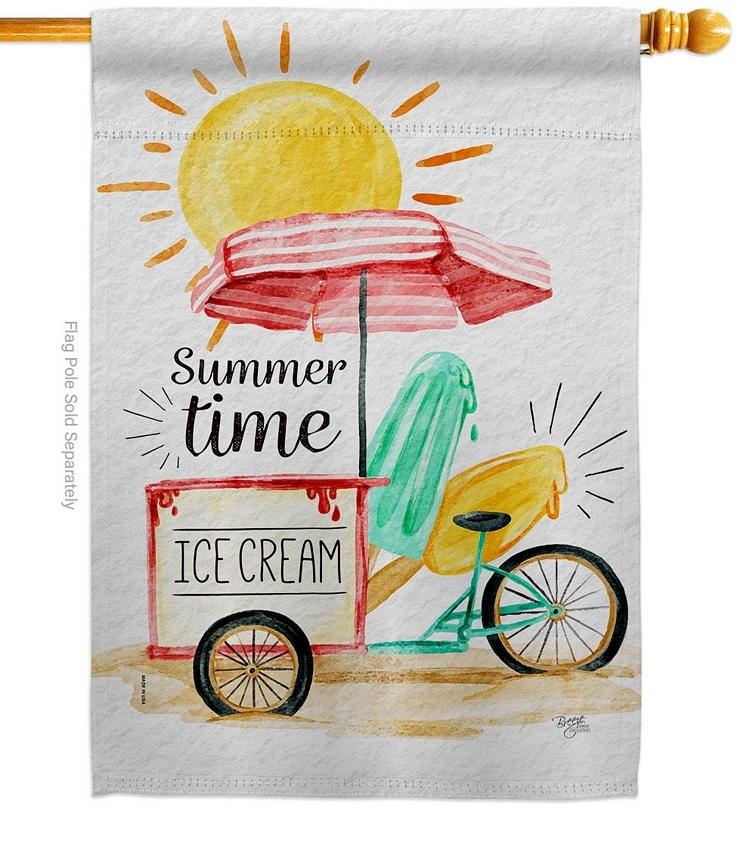 Summer Time Ice Cream House Flag