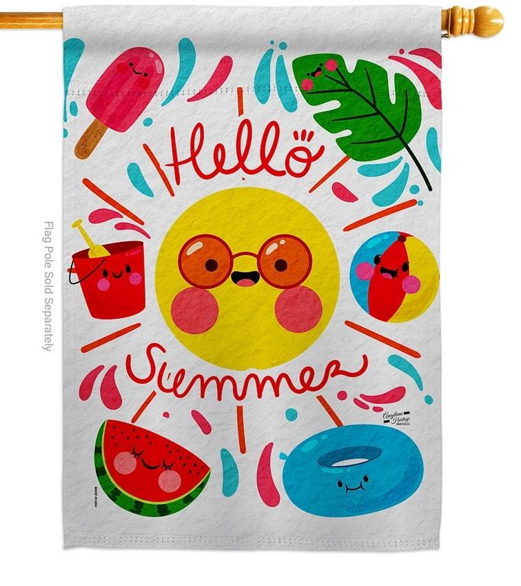 Hello Summer Decorative House Flag