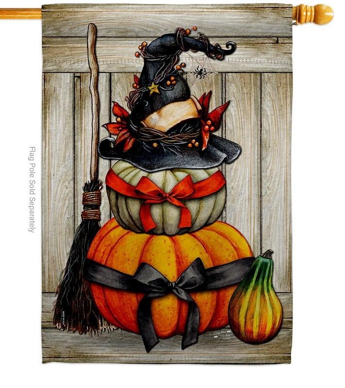 Witch Pumpkins House Flag