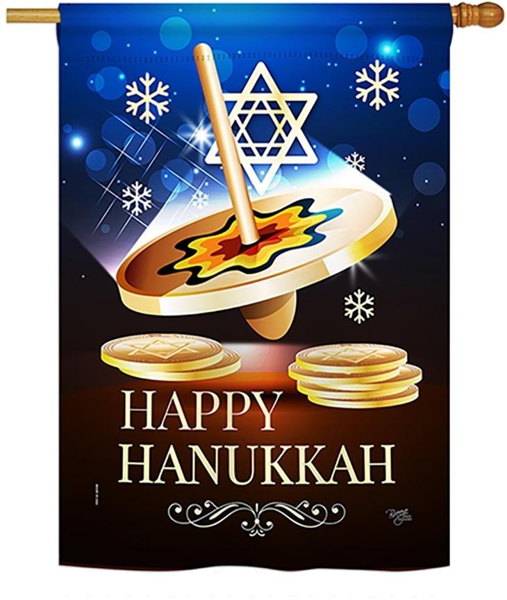 Happy Hanukkah Dreidel House Flag