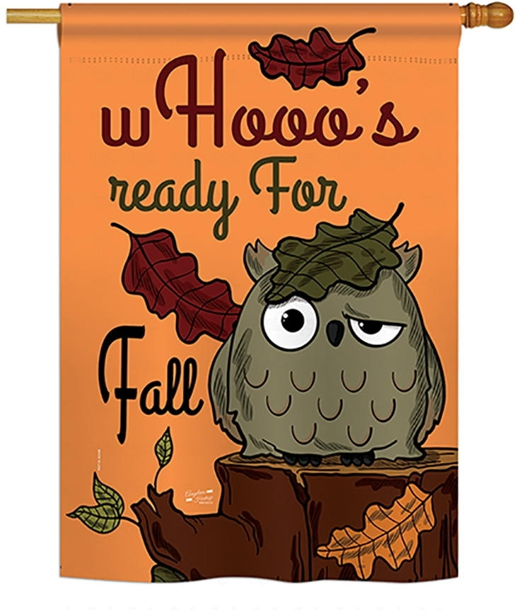 Whooo's Reday For Fall House Flag