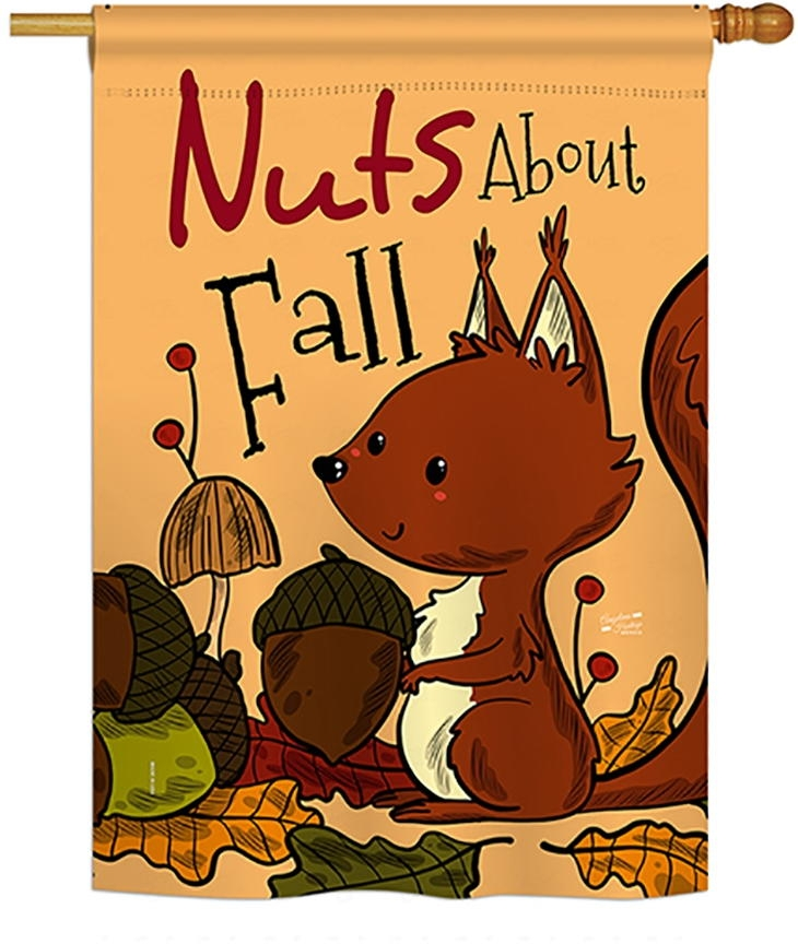 Nuts About Fall House Flag