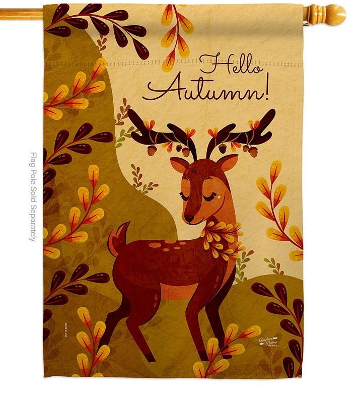 Autumn Deer House Flag