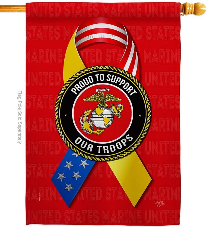 Support Marine Troops House Flag