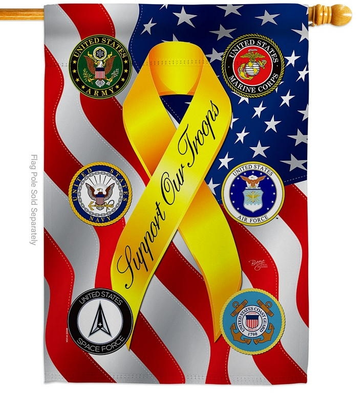 Support All Military Troops House Flag