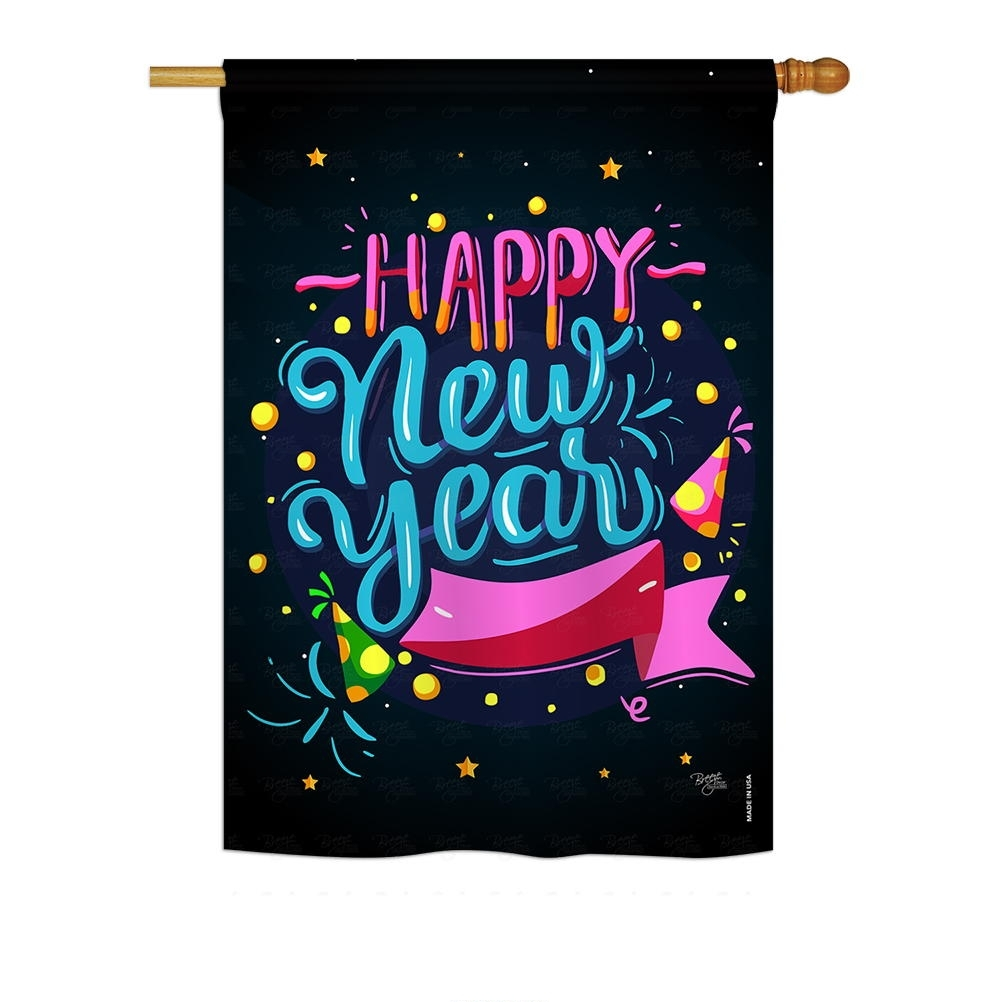 Popping Happy New Year House Flag