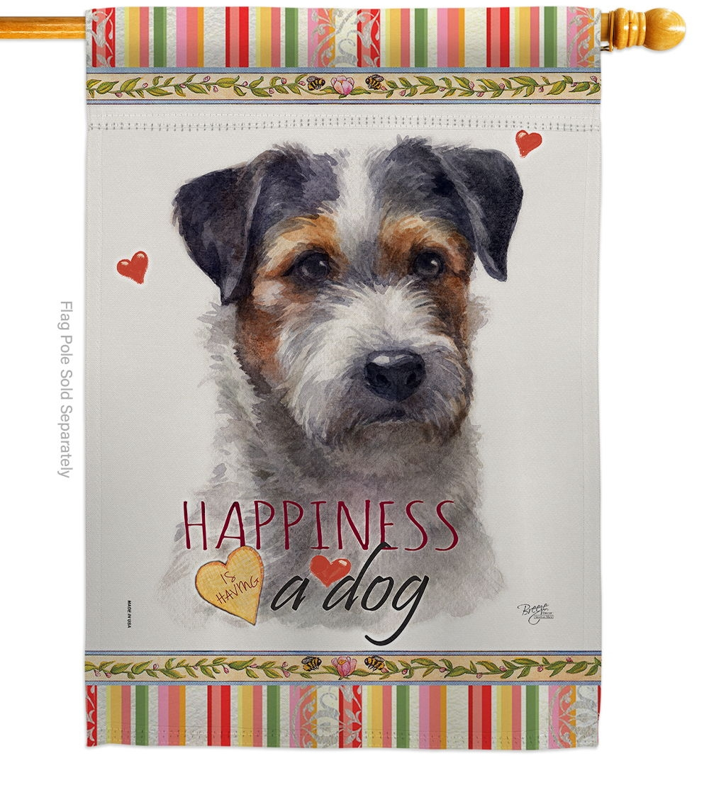 Black Jack Russell Happiness House Flag