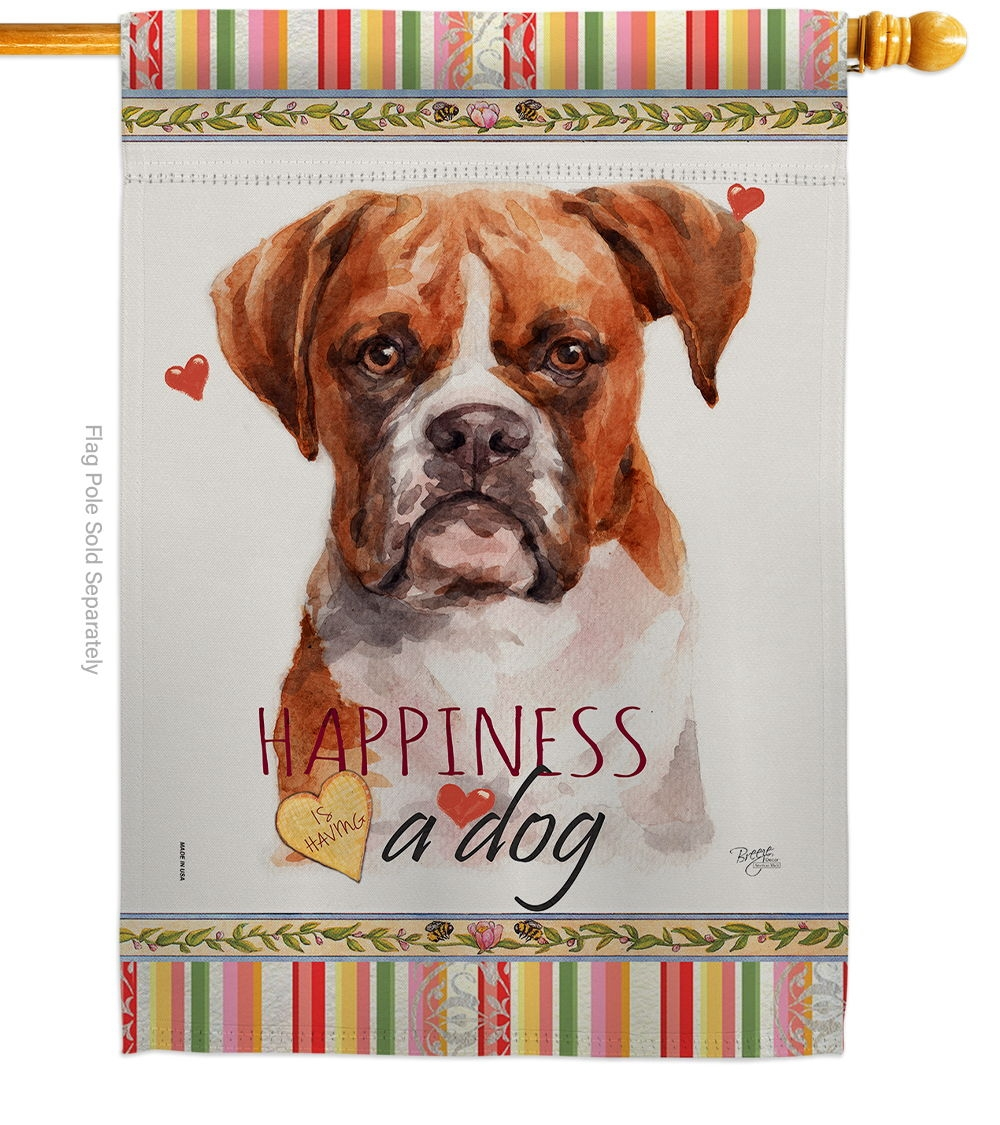 Boxer Happiness House Flag