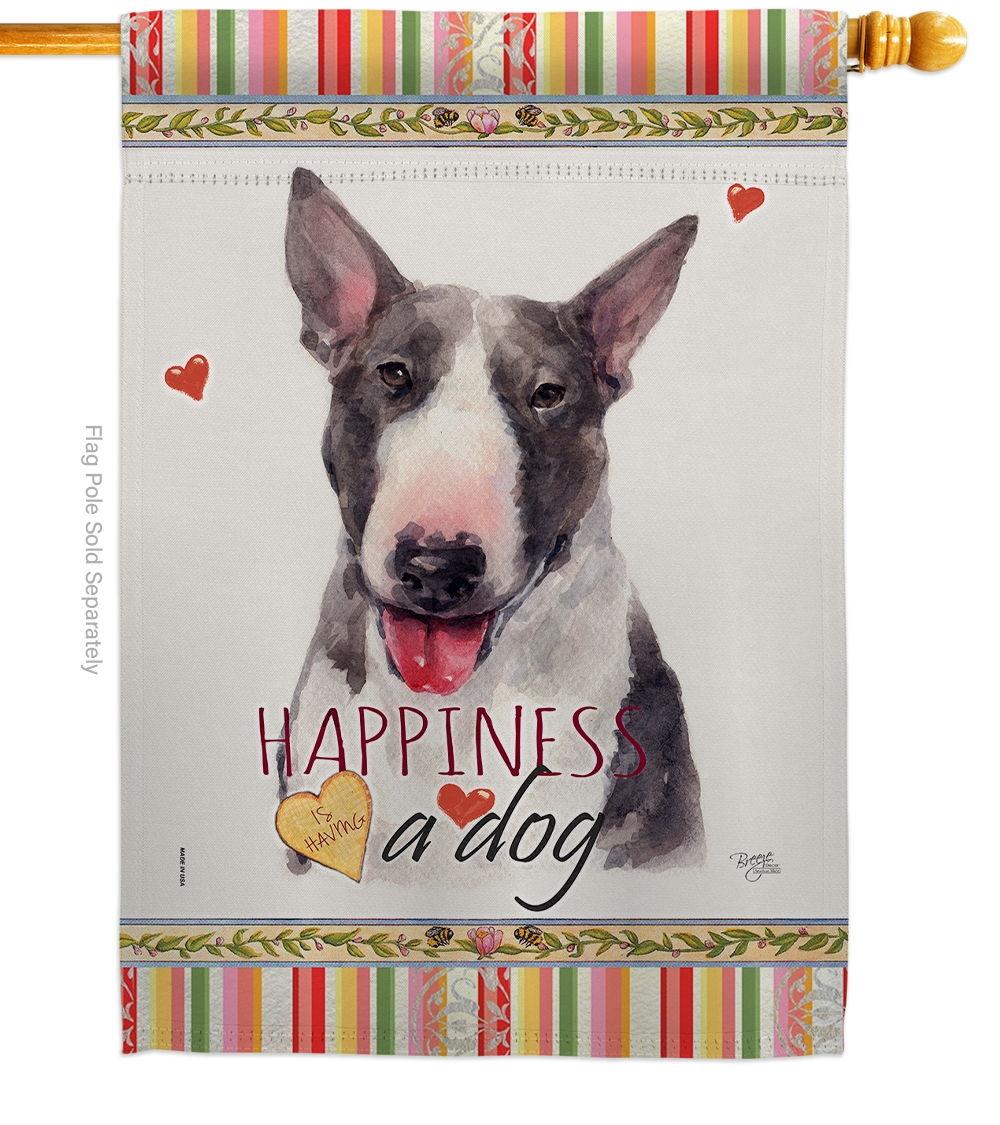 Bull Terrier Happiness House Flag