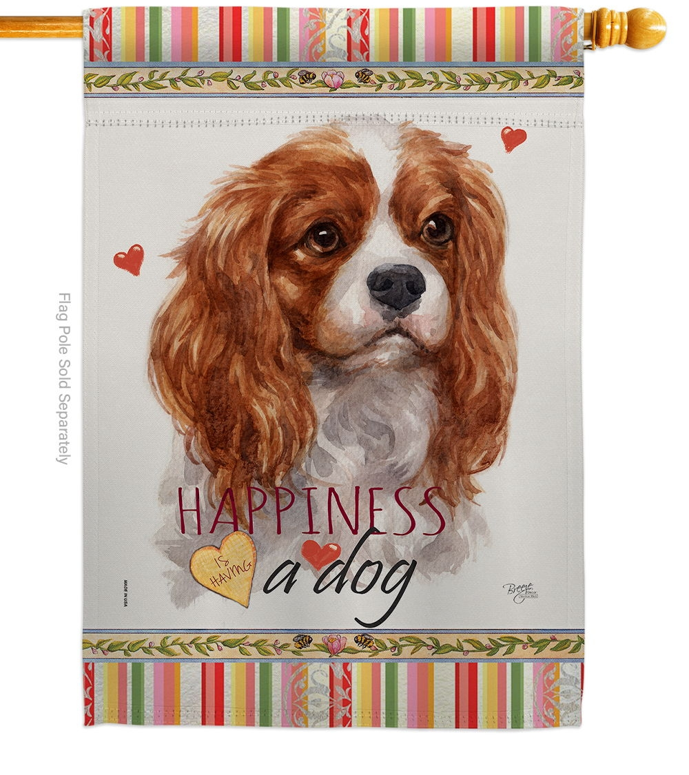 Charles Spaniel Happiness House Flag