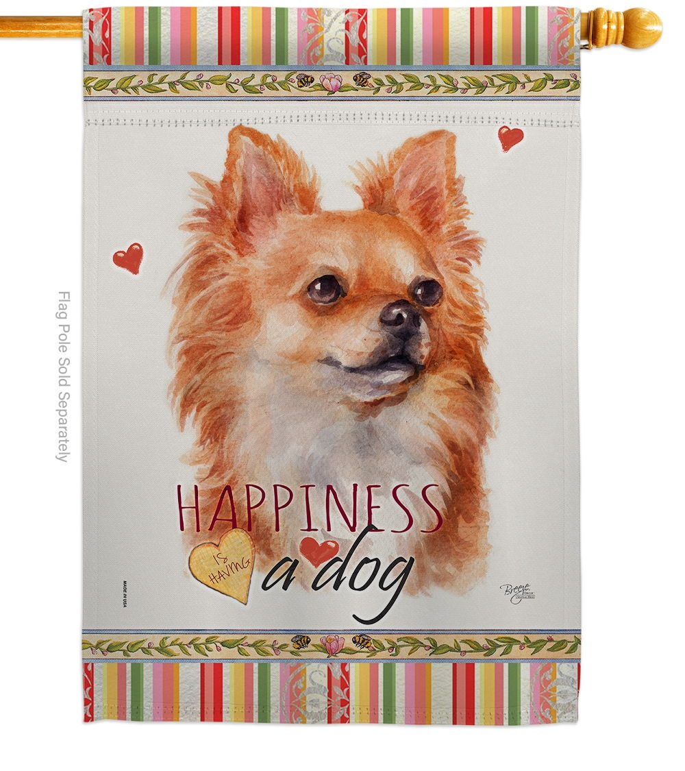 Brown Chihuahua Happiness House Flag