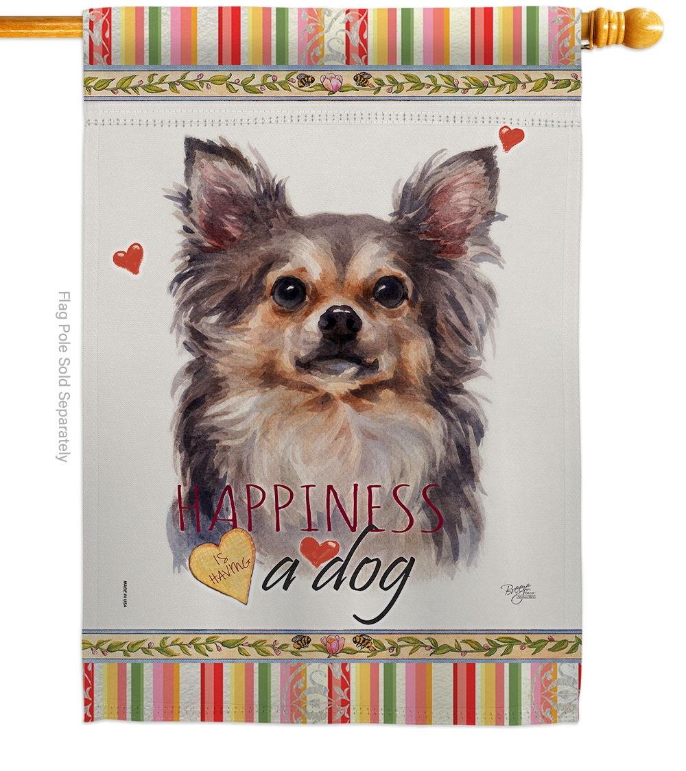 Chihuahua Happiness House Flag