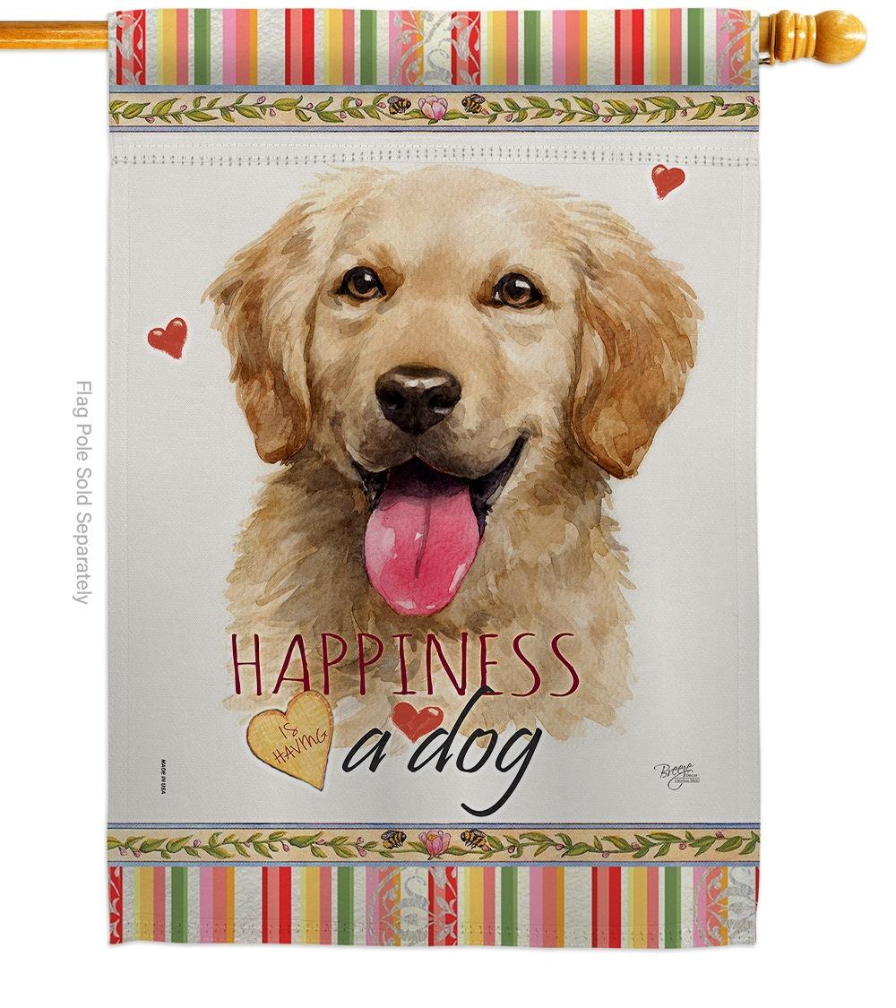 Golden Retriever Happiness House Flag