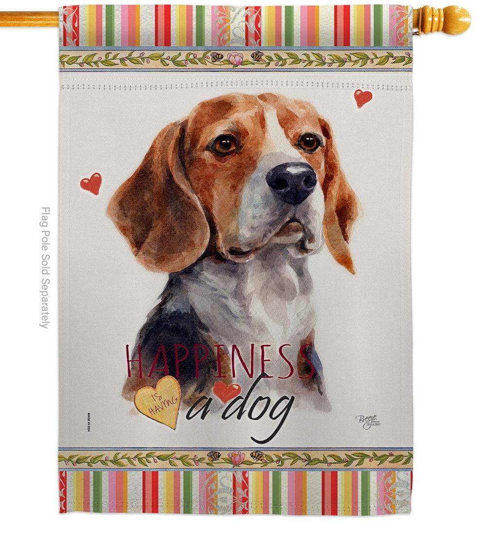 Beagle Hound Happiness House Flag