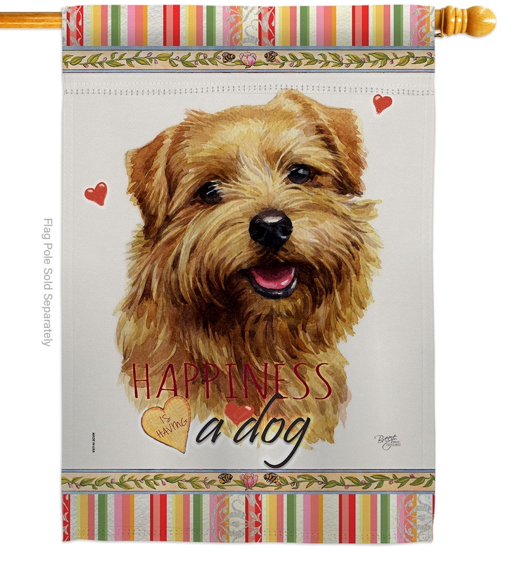 Tan Norfolk Terrier Happiness House Flag