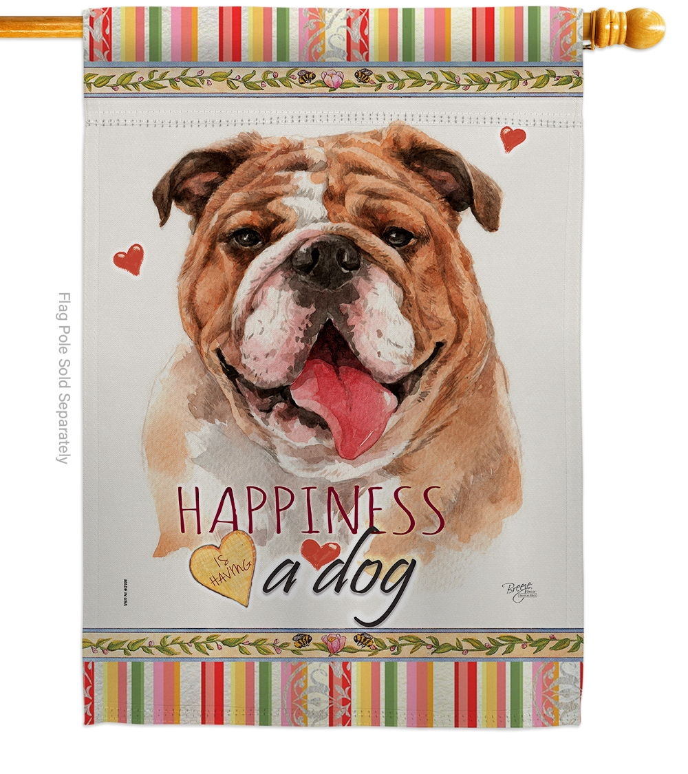 Bulldog Happiness House Flag