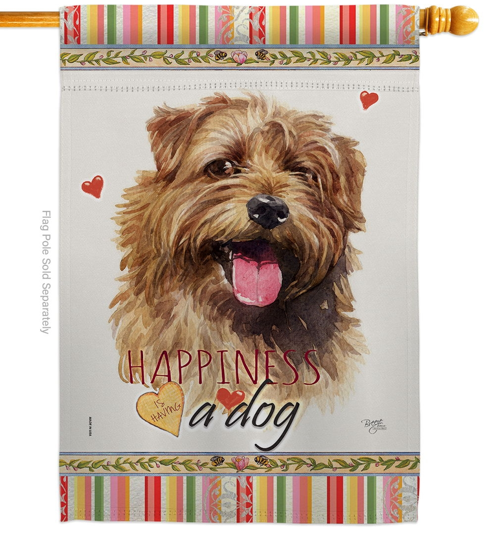 Norfolk Terrier Happiness House Flag