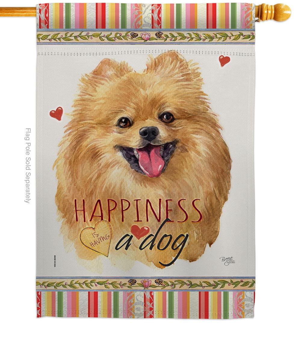 Pomeranian Happiness House Flag