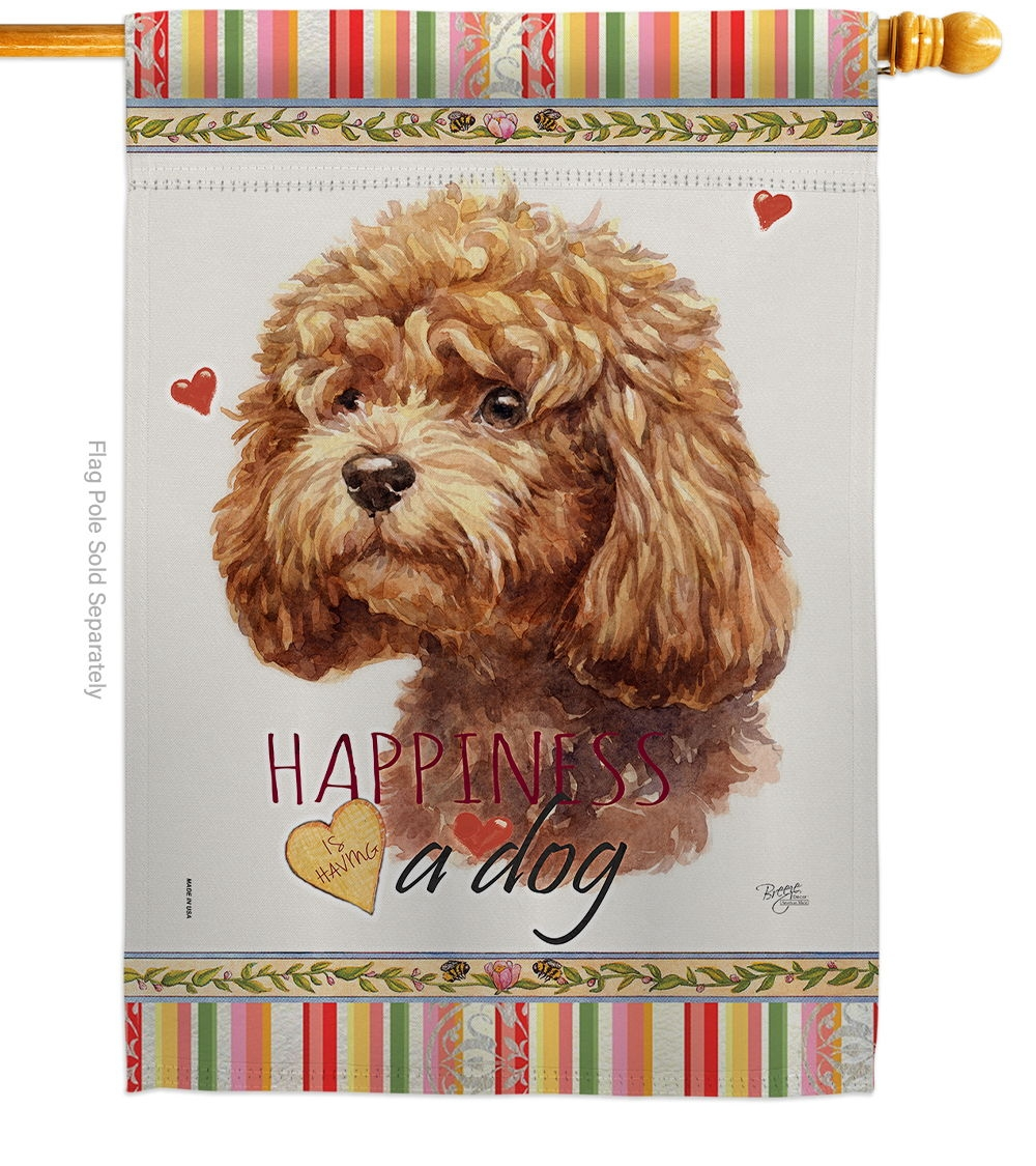 Poodle Happiness House Flag