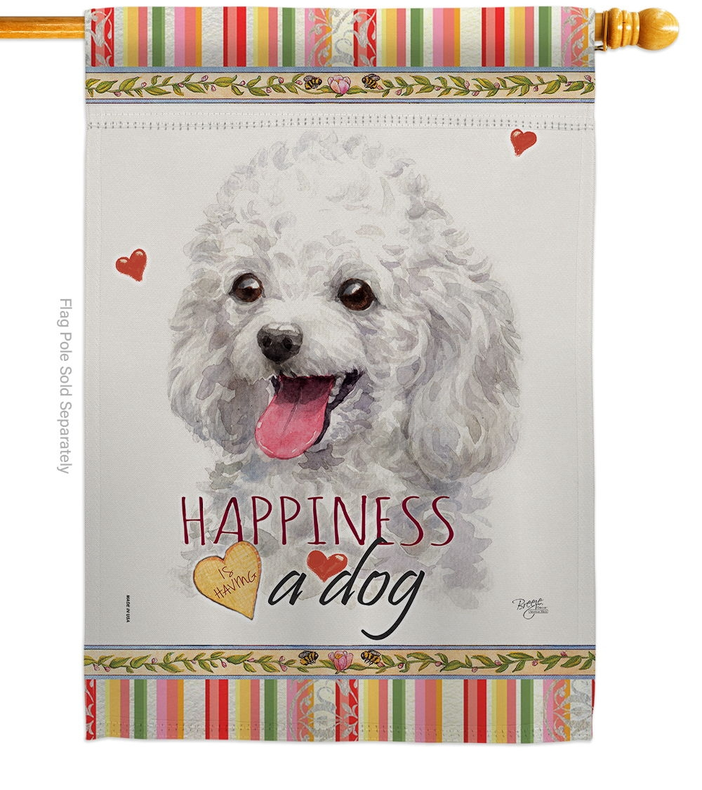 White Poodle Happiness House Flag
