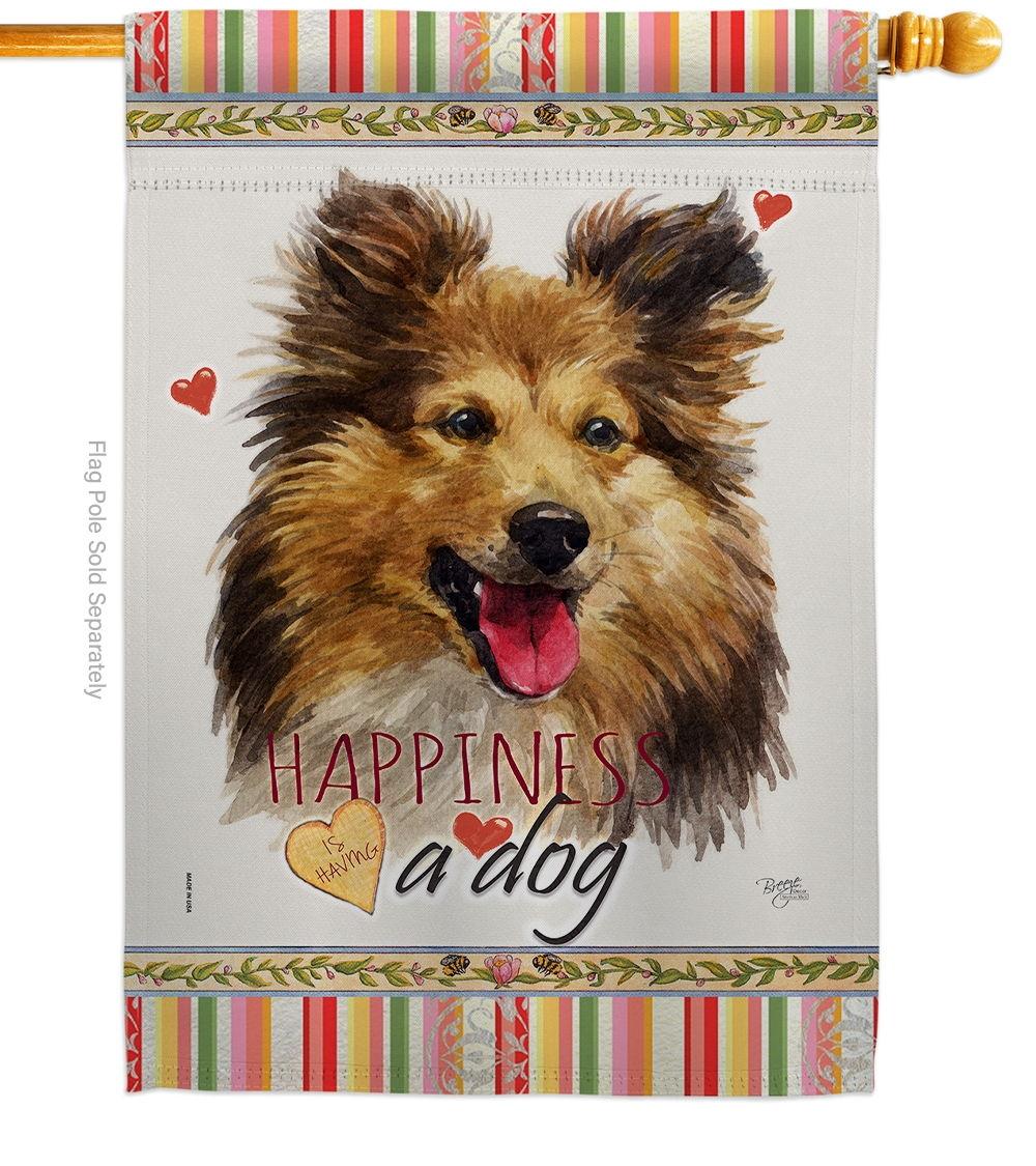 Shetland Sheepdog Happiness House Flag