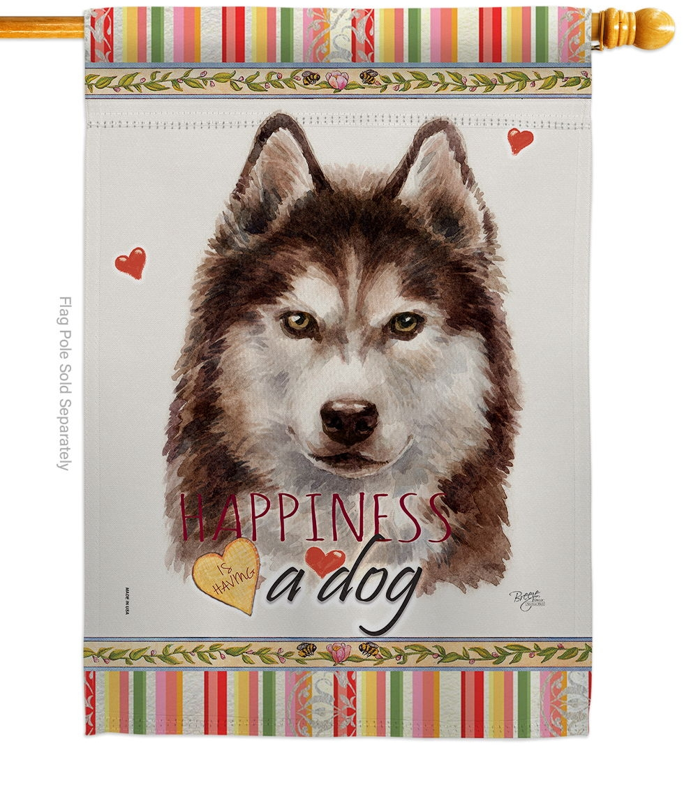Brown Siberian Husky Happiness House Flag