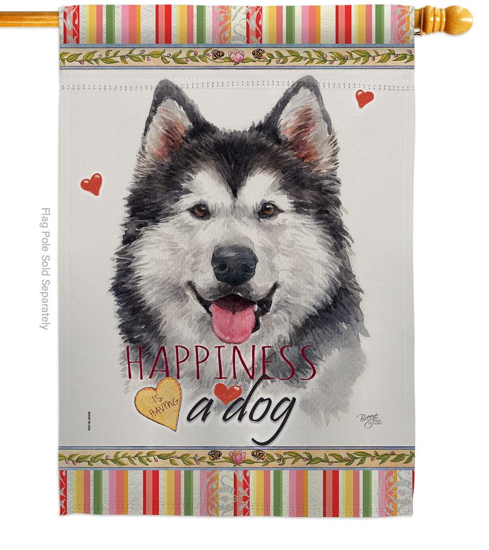 Siberian Husky Happiness House Flag