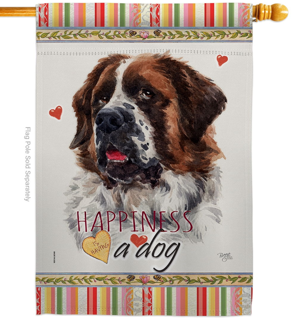 St. Bernard Dog Happiness House Flag