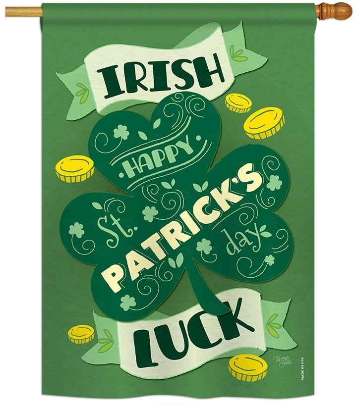 Golden Irish Luck House Flag