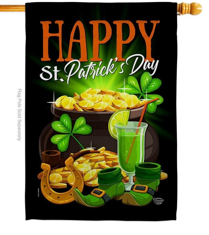 Happy Saint Patrick Day House Flag