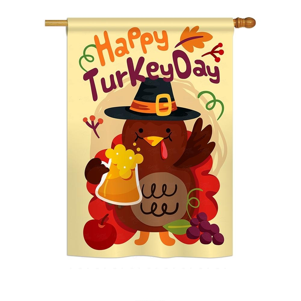 Happy Turkey Day House Flag
