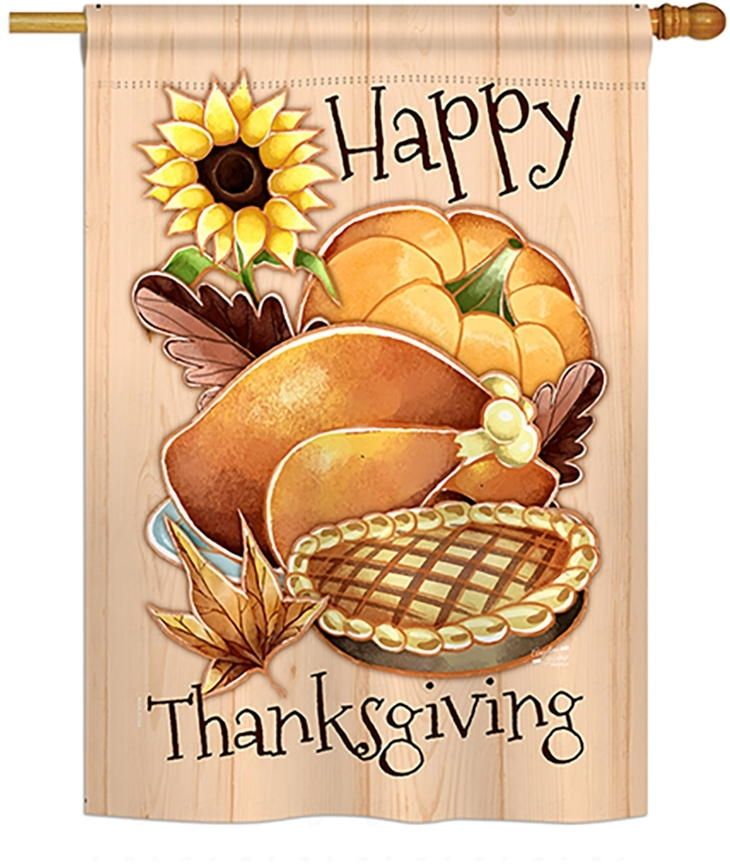 Happy Thanksgiving Feast House Flag