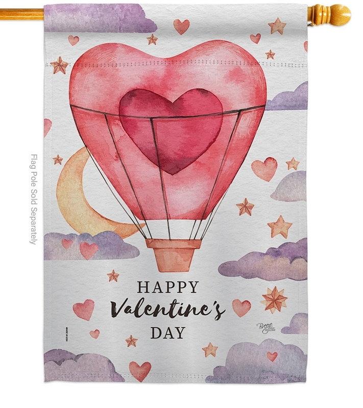 Valentine's Day Balloon House Flag