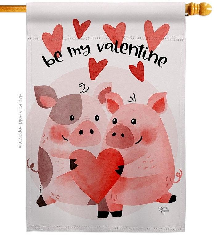 Valentines Piggy House Flag