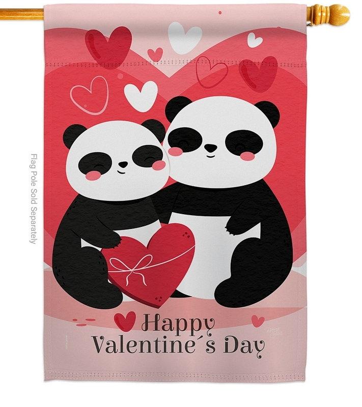 Panda With Love House Flag