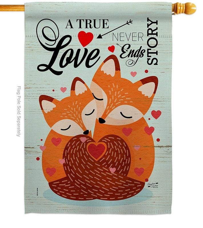 Foxes Love Decorative House Flag