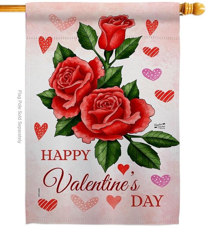 Valentines Rose House Flag