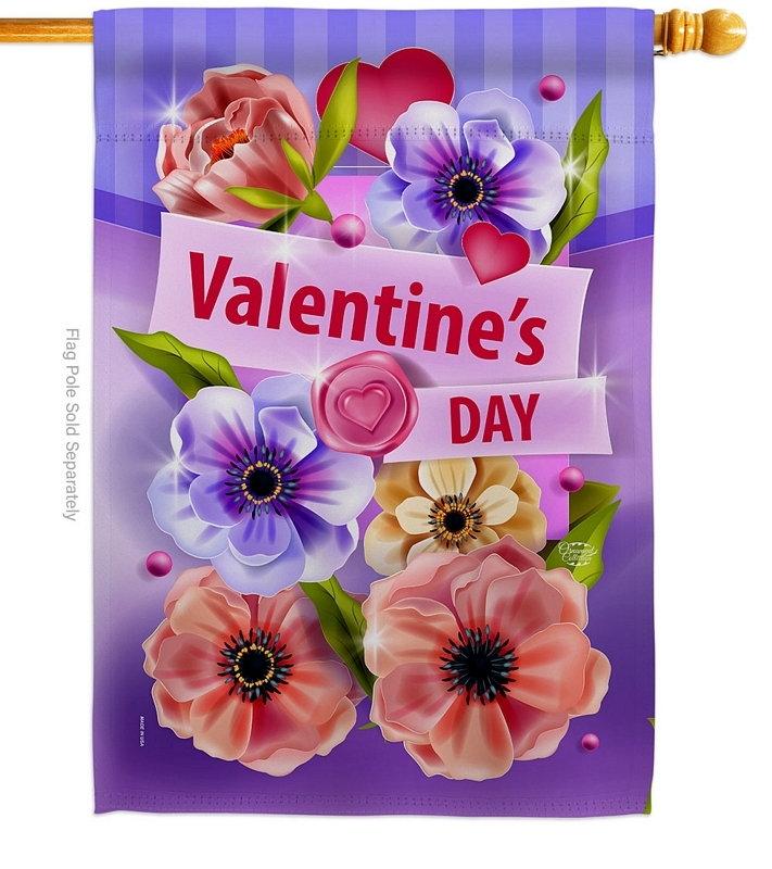 Valentines Floral House Flag