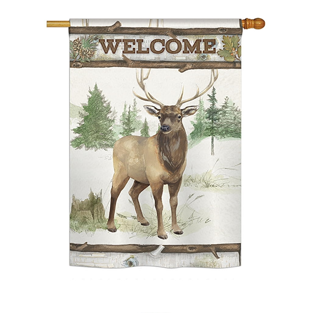 Welcome Deer House Flag