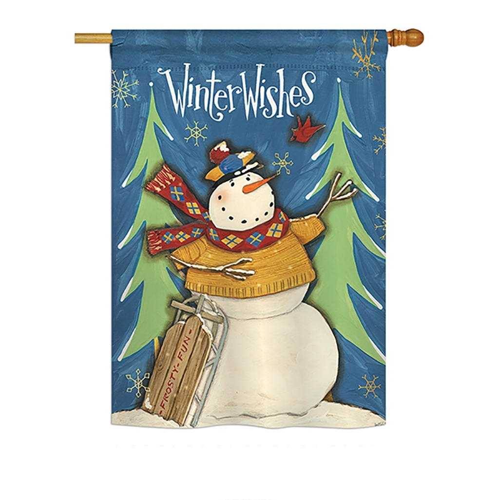 Winter Wishes Snowman House Flag