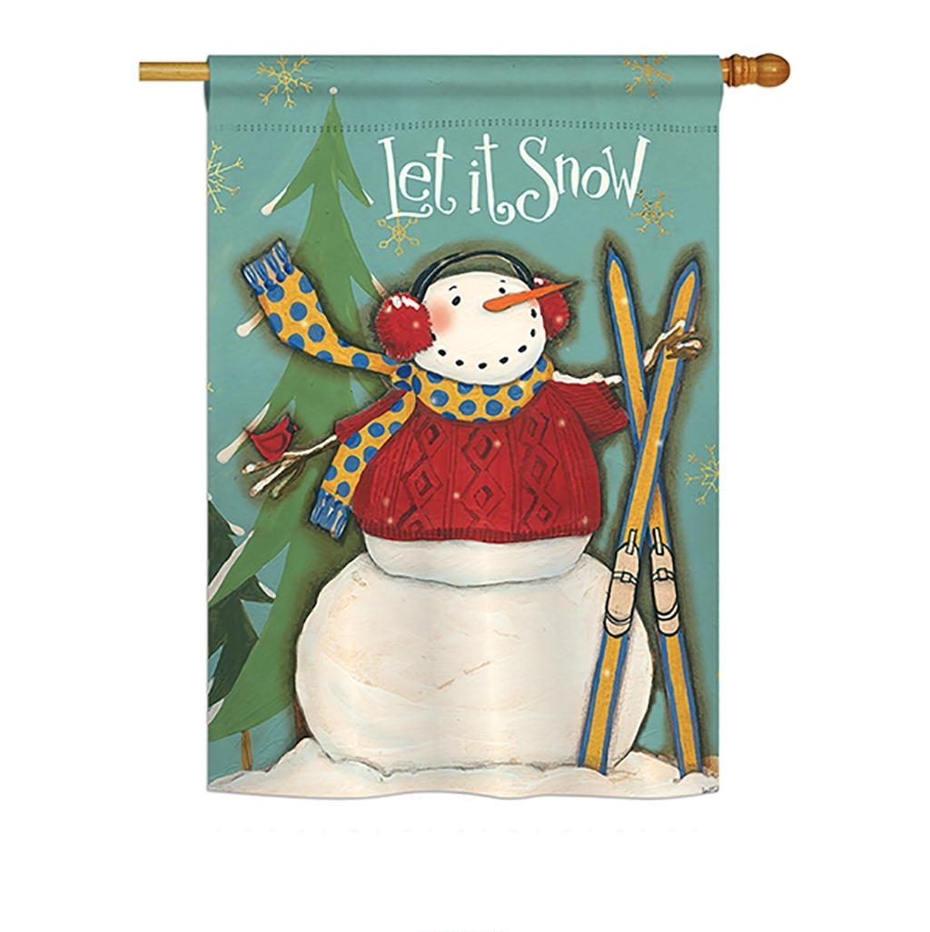 Let It Snow Snowman House Flag
